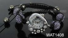Fashion shamballa watch bracelets;heart shape watch head with rhinestone