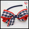 plaid print ribbon bow hair band girls headband accessory