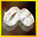 316l de aceroinoxidable de compromiso joyas pareja con anillos de oro y rodio plateado