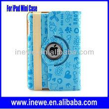 Hot For iPad Mini Rotational leather case with cute design