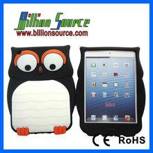 Stylish Owl Design Silicone Case Cover for iPad Mini (Black)