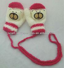 13G1517 Baby 3D Bear Head Pattern Knitted Mitten