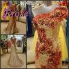 L052 Trumpet Sequin Applique One Shoulder Gold Wedding Dress