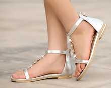 2013 New arrivel low heel sandals girls shoes flat PU sandals factory