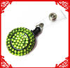 Fashion Bling rhinestone jade green retractable badge reels