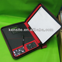 A4 zip pu leather portfolio with calculator and notebook
