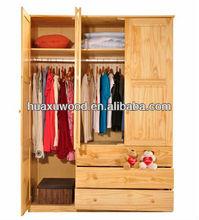Solid wood/Natural pine three door wardrobe
