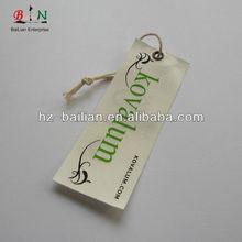Print natrual cotton fabric swing tags, fabric hang tag