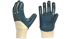CE EN388 Approved Blue Heavy Nitrile 3/4 Coated on White Jersey Cotton Liner Knit Wrist Light Metal Fabrication Gloves