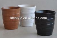 Glazed Solid Color Ceramic Flower Pot with Horizontal Stripes
