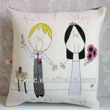 Elegant rose love gift customized wedding cushion cover customized