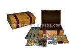 7-in-1 Game Set in Map design Vinyl wood treasure box