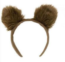 Brown fluffy bear ears headband animal fancydress