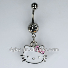 Hello Kitty Belly Ring Enamel and Pink Gemstone Dangle Navel Ring