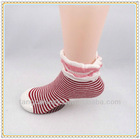 Latest red color cotton striped children kids socks hosiery with beautiful ruffle lace