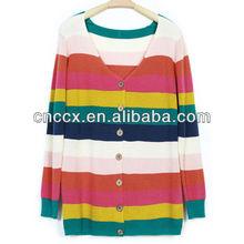 13STC5176 striped colour women long sweater cardigan