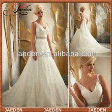 GW0633 new arrival V-neck A-line fashion islamic women wedding dresses