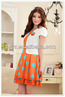 Fashion !!!!Korean Style Elegant Temperament Dots Fake Two Orange Dress (With Belt And Flower)