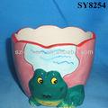 - Color de dibujo de olla de cerámica de la rana maceta