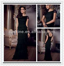 YED10102 Short sleeve Boat neck Mermaid Floor length layered skirt beaded lace black chiffon evening dresses short sleeve