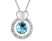 2013 White gold plated Austrian crystal pendant necklace Inspired Round Ocean Women's Necklaces