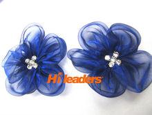 Royal Blue Organza Flowers For Wedding Decoration