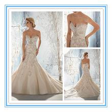 Beaded, Raised Embroidery on Net with Taffeta Empire Wedding Dress New Fashion(WDML-1003)