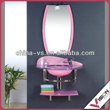 glass wash sink,pink glass bathroom vanity with art basin