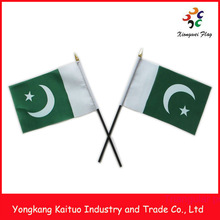 14x21cm small Pakistan national day commemoration hand flag