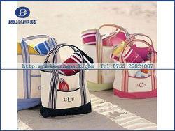 Stylish Colorful Stripe Handle Canvas Tote Bag