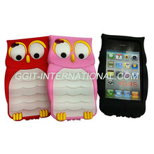 Owl 3D Cartoon Silicone case for iPhone 4s 3D Animal case