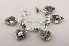 Antique silver casting purse/handbag charm marcasite look toggle bracele.