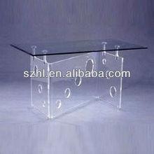 Acrílico mesa de jantar com tampo de vidro