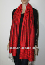 2012 scarfs/shawls JDPS-006# polpular crimson 70% Viscose silk polpular scarves