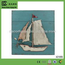 Wood Ocean And Metal Sailing Decorative Wall Decor
