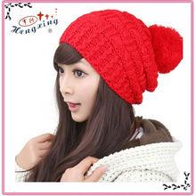 2013 Good woolen yarn hand knitting cheap caps in crochet for children
