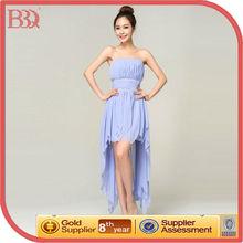 Top Sale Short Front Long Back Blue Bridesmaid Dress For Wedding