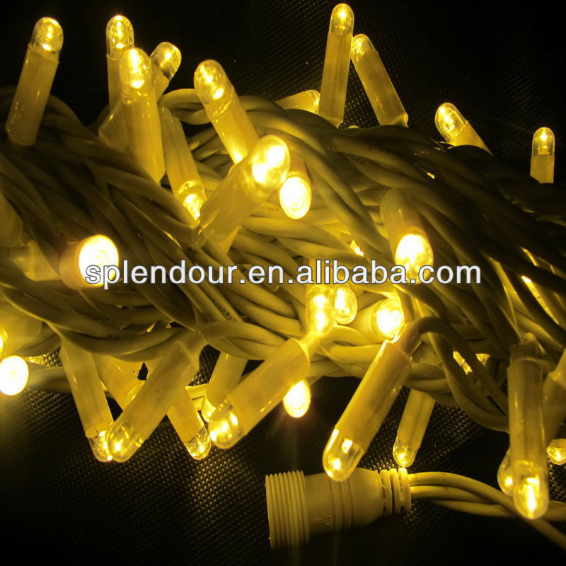 IP65 connectable white rubber wire outdoor LED Christmas string light warm white color CE/ROHS a ...