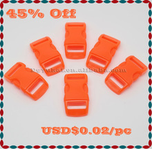 "Orange 3/8"" Curved Plastic Side Release Buckle"