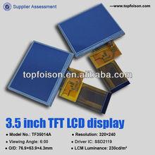 Active matrix LCD 3.5'' LCD TFT panel LQVGA for MP3/MP4 -TF35014A