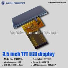 Active matrix LCD 3.5 inch LCD TFT panel LQVGA for MP3/MP4 -TF35014A