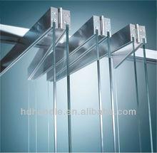 Frameless glass door partition