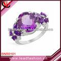 Anillos de moda 2013, anillos de piedra de joyería, amatista anillos de plata