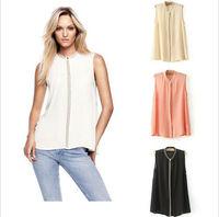 2013 Tops Ladies Sleeveless Chiffon T Shirt solid color long summer blouses