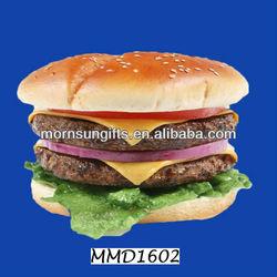 Double Burger Fake Food Resin 3d fridge magnet