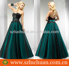 Elegant black green feathered fluffy prom dresses