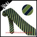 Verde listrado preto 100% tecidos de seda gravatas