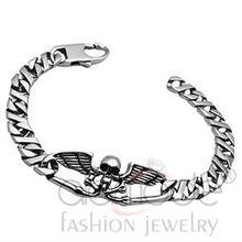 Stainless steel skull & wing design men bracelet