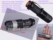 led cree q5 230lm mini zoom flashlights torch