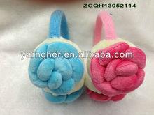 blue&pink fashion knitted+plush design earmuffs